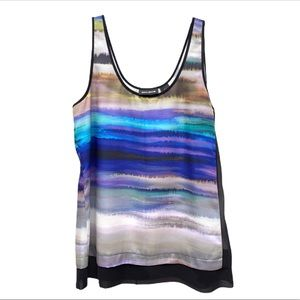 DKNY Jeans Abstract Wave Painterly Print Tank Top
